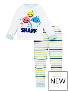 baby-shark-unisex-baby-shark-long-sleeve-pjs-white