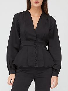v-by-very-button-through-back-detail-blouse-black