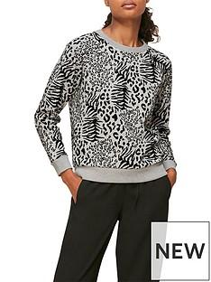 whistles-flocked-animal-sweatshirt-grey
