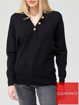 v-by-very-granddad-collar-button-up-jumper-black