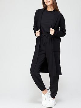 V By Very Longline Coatigan - Black, Black, Size 12, Women