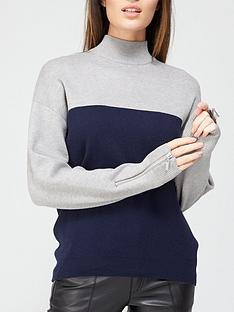 v-by-very-turtle-neck-zip-cuff-detail-colour-block-jumper-navygrey-marl