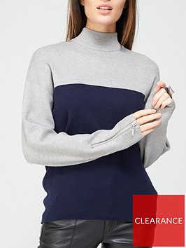 v-by-very-turtle-neck-zip-cuff-detail-colour-block-jumper-navygrey-marl