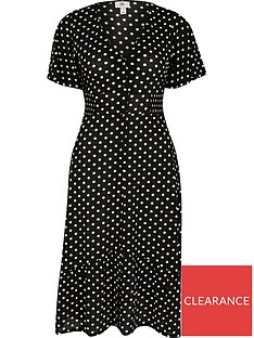 ri-petite-petite-jersey-spot-button-through-midi-dress-black