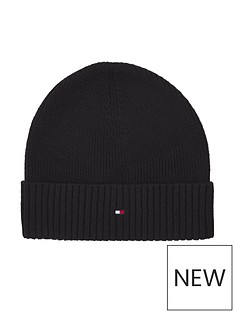 tommy-hilfiger-pima-cotton-knitted-beanie-hat-black