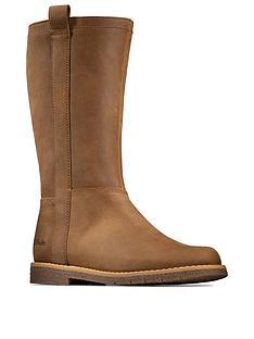 clarks-comet-wild-kids-leather-knee-boot-tan