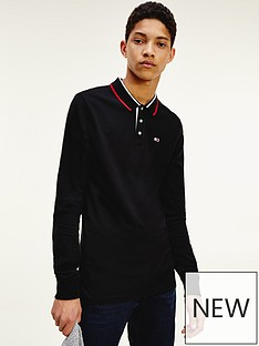 tommy-jeans-tjm-stretch-slim-long-sleeve-polo-shirtnbsp--blacknbsp