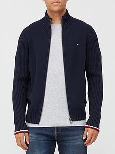 tommy-hilfiger-bold-structure-zip-through-knitted-jumper-navy