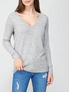 v-by-very-v-neck-seam-detail-jumper-grey-marl