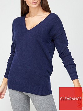 v-by-very-v-neck-seam-detail-jumper-navy