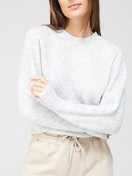 v-by-very-rib-detail-deep-hem-crew-neck-knitted-jumper-grey