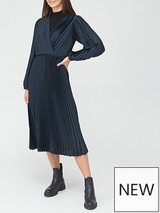 v-by-very-wrap-satin-pleated-midi-dress-navy