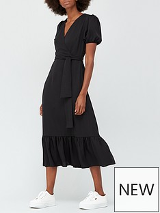 v-by-very-wrap-short-sleeve-midi-dress-black
