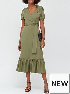v-by-very-wrap-short-sleeve-midi-dress-khaki