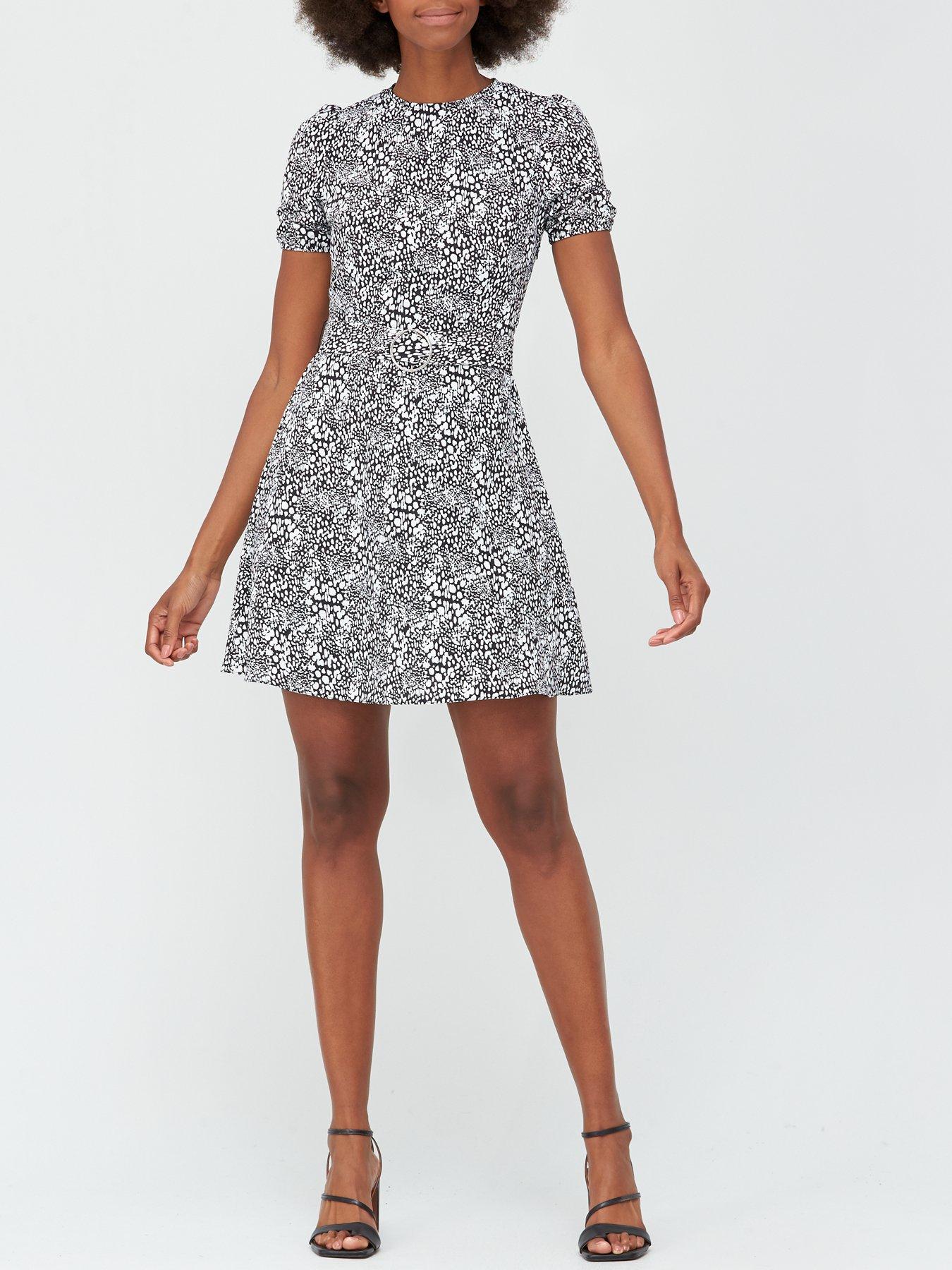 Womens Floral Printed Ladies Stretch Cap Sleeve Zip Skater Mini Dress Plus Size