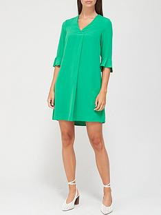 v-by-very-notch-neck-dress-green