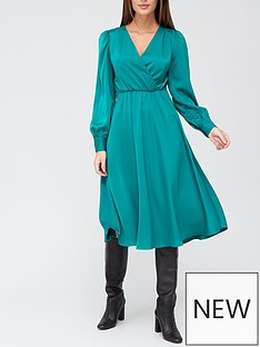 v-by-very-wrap-satin-jacquard-tie-waist-midi-dress-green