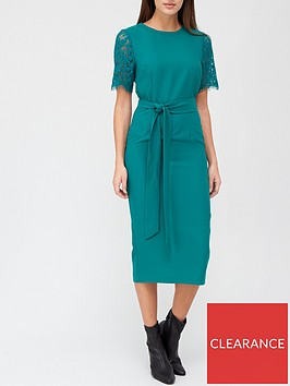 v-by-very-lace-sleeve-midi-dress-green