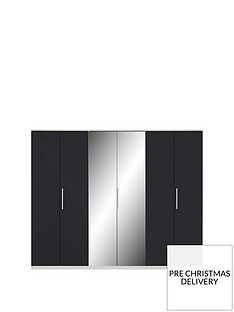 messina-gloss-6-door-mirrored-wardrobe-whiteblack