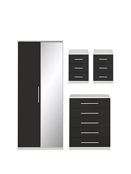 messina-4-piecenbspgloss-package-2-door-mirrored-wardrobe-5-drawer-chest-2nbspbedside-chests-whiteblack