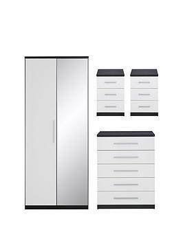 messina-4-piecenbspgloss-package-2-door-mirrored-wardrobe-5-drawer-chest-2nbspbedside-chests-blackwhitenbsp