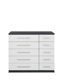 messina-gloss-5-5-drawernbspchest-blackwhite