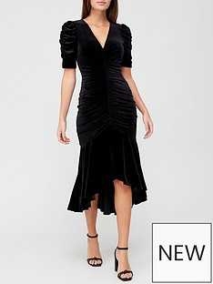 v-by-very-v-necknbspvelvet-ruched-fishtail-midi-dress-black