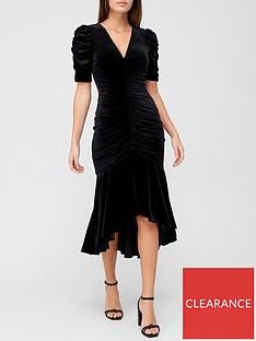 v-by-very-v-necknbspvelvet-ruched-fishtail-midi-dress-black