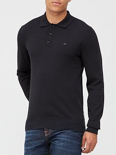 calvin-klein-cotton-silk-long-sleeve-polo-shirt-black