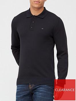 calvin-klein-cotton-silk-long-sleeve-polo-shirt-black