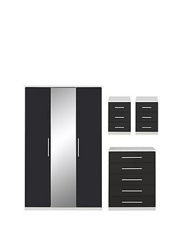 messina-4-piecenbspgloss-package--nbsp3-door-mirrored-wardrobe-5-drawer-chest-2nbspbedside-chests-whiteblack
