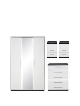messina-4-piecenbspgloss-package--nbsp3-door-mirrored-wardrobe-5-drawer-chest-2nbspbedside-chests-blackwhite