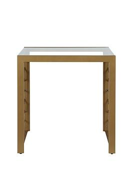 Cosmoliving By Cosmopolitan Juliette Glass Top Lamp Table- Soft Brass