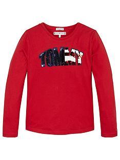 tommy-hilfiger-girls-long-sleeve-sequin-logo-t-shirt-red