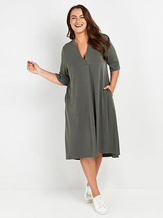 evans-short-sleeve-dress-khaki