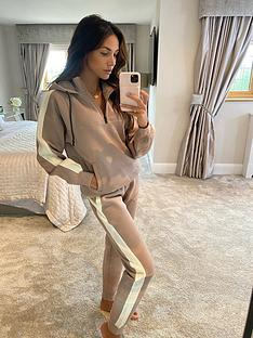 michelle-keegan-colour-block-zip-funnel-hoodie-nudecream