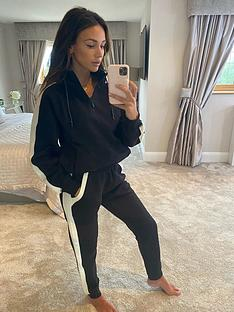 michelle-keegan-colour-block-zip-funnel-hoodie-blackcream