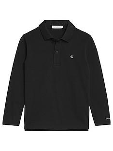 calvin-klein-jeans-boys-long-sleeve-essential-logo-polo-black