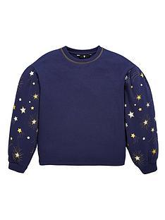 v-by-very-girls-volume-sleeve-star-sweatshirt-navy