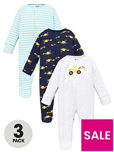 v-by-very-baby-boys-tractor-3-pack-sleepsuits-multi