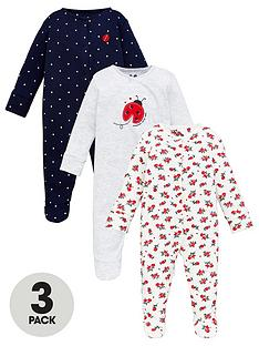 v-by-very-baby-girls-3-pack-ladybird-sleepsuits-multi
