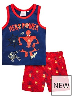 spiderman-boysnbspvest-and-shorts-pjs-navy