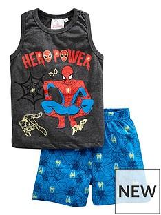 spiderman-boys-vest-and-shorts-pjs-grey