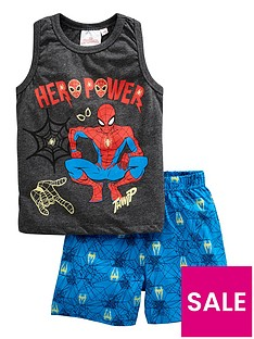 spiderman-boys-vest-and-shorts-pjs-grey