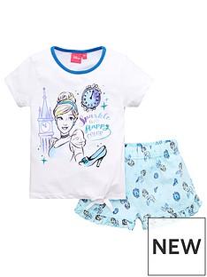 disney-princess-girlsnbspcinderella-tie-detail-shortie-pjs-white