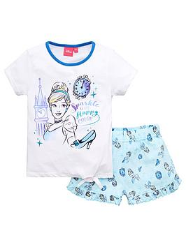 disney-princess-girlsnbspcinderella-tie-detail-shortie-pjs-white