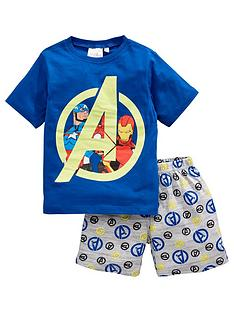 the-avengers-boys-marvelnbspshortie-pjs-blue