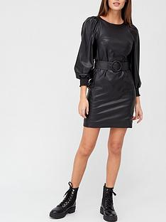 v-by-very-puff-sleeve-a-line-faux-leather-dress-black