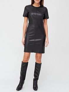 v-by-very-short-sleeve-faux-leather-t-shirt-dress-black