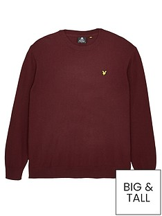 lyle-scott-big-amp-tallnbspcrew-neck-cotton-merino-jumper-burgundynbsp
